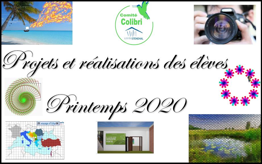Projets des élèves – Printemps 2020